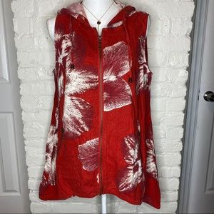 For Cynthia Red Floral Zip Up Hooded Sleeves Top L